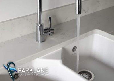Double bowl sink with instant boil hot water function.