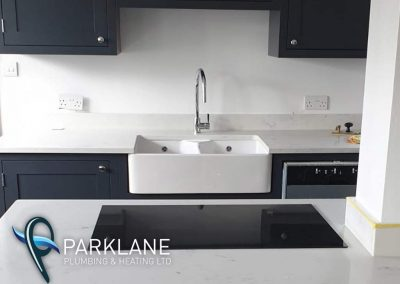 Large Belfast sink installed with a instant boil hotwater tap