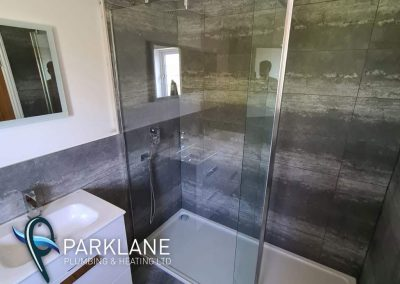 Large 1800x800 shower tray with 1100 sheet glass screen