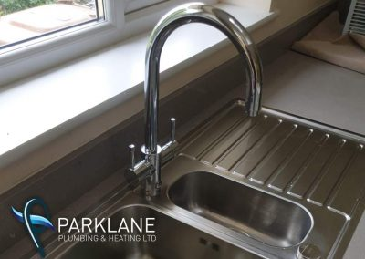 Instant Boil/ice cold Kitchen tap. Stainless sink.