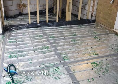 Underfloor heating laid out ready for screeding.